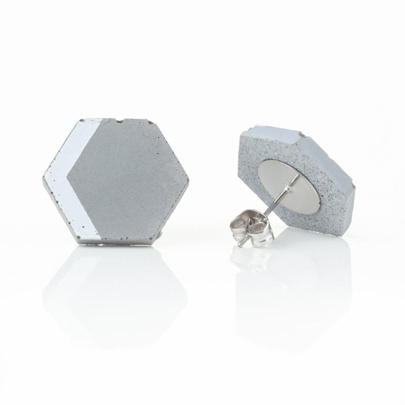 Náušnice z betonu Hexagon PRINT