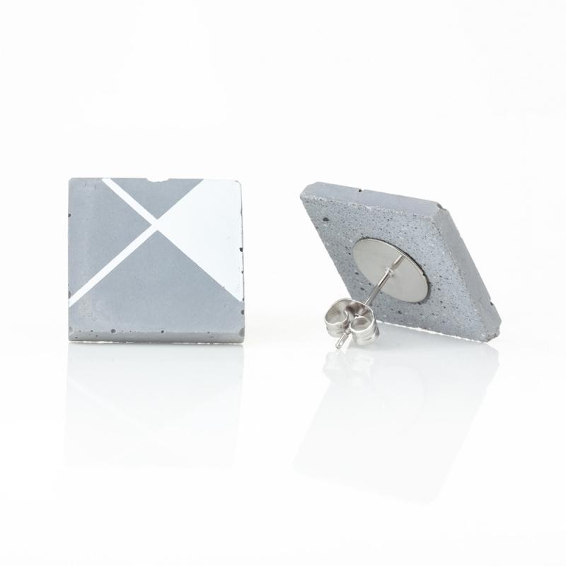 Náušnice z betonu čtverec PRINT